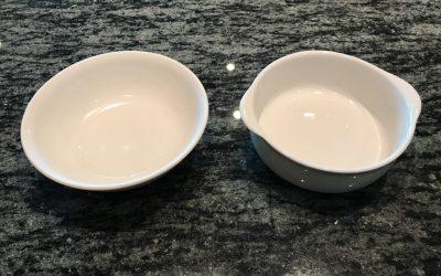 プラスチック製の皿と陶器の皿への着色実験前