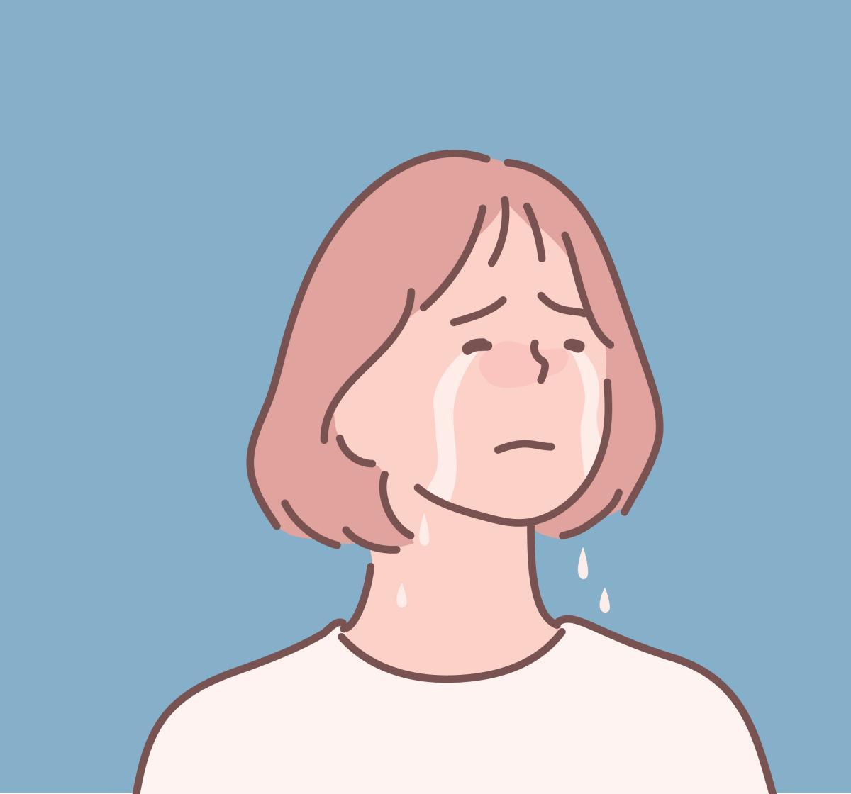 泣いてる女の人